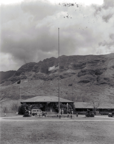 The Lualualei flag at half mast during the funeral proceedings for President Roosevelt.