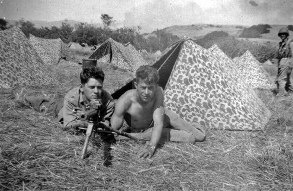 George Hall and Tom Hurley with .30 cal Browning light MG. Camp Pendleton. 1943.