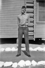 Howard Haff gives an awkward smile. Camp Pendleton, 1943.