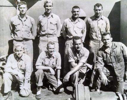 Company D officers after Namur. Top row: Swoyer, Webster, Marquandt, Santilli. Bottom row: Donovan, James, Stott, Bechtol.