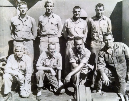 Company D officers after Namur. Top row: Swoyer, Webster, Marquandt, Santilli. Bottom row: Donovan, James, Stott, Bechtol.
