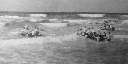 "Able Company on rubber boat exercises, November 1943. ""Thank God we never had to use those boats,"" said George Smith. ""We would have been massacred."""