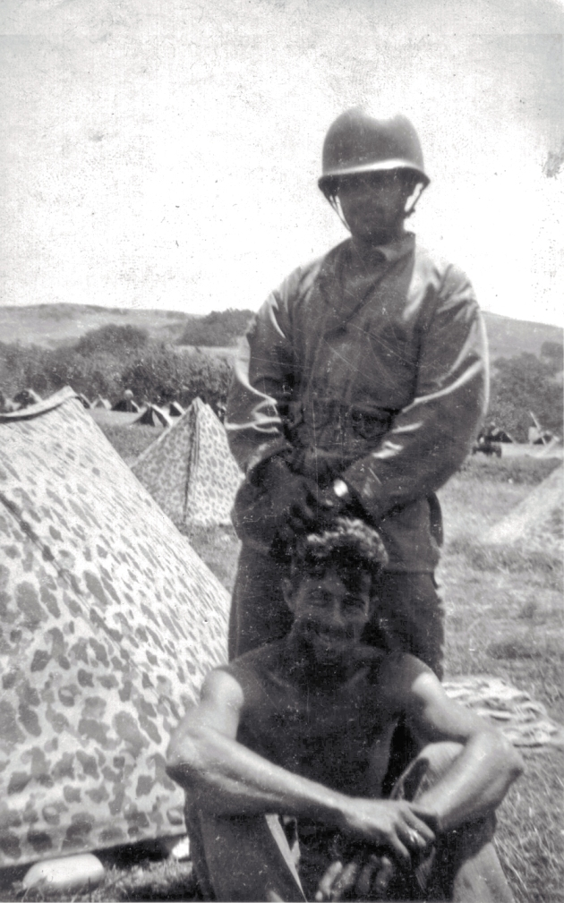 Two of Phil's machine gunners - Amedeo Izzo and Tom Hurley - at Camp Pendleton, 1943.