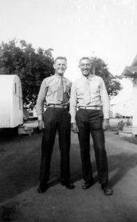 JJ Franey and George Smith near the Hurley house. They would pool their money before going off on a weekend liberty (a 72) to buy groceries, and return to Oceanside for a home-cooked meal before returning to Camp Pendleton.