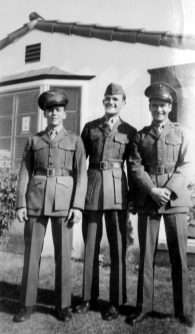 Tom Johnson, JJ Franey, and Kenneth Shea at the Hurley residence, December 1943.