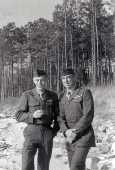 Sergeant George Smith in California after being called up during the Korean War. His friend at left is also a veteran of World War 2.