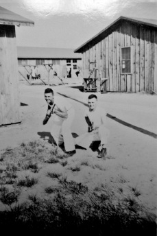 Bob McCabe and JJ Franey clown around at Parris Island.