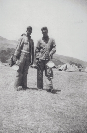 """Hurley on left. Squad leader, machine guns–great friend of Fred Reed's (Swarthmore). A steam fitter for DuPont, with two children. Jowers - a big, tough woodsman from the Okefenokee swamps in Florida."""