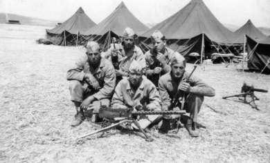 Tom Hurley's squad at Camp Pendleton. Clockwise from top: Hurley, George Hall, Howard Kerr, George Smith, Jeff Jowers.