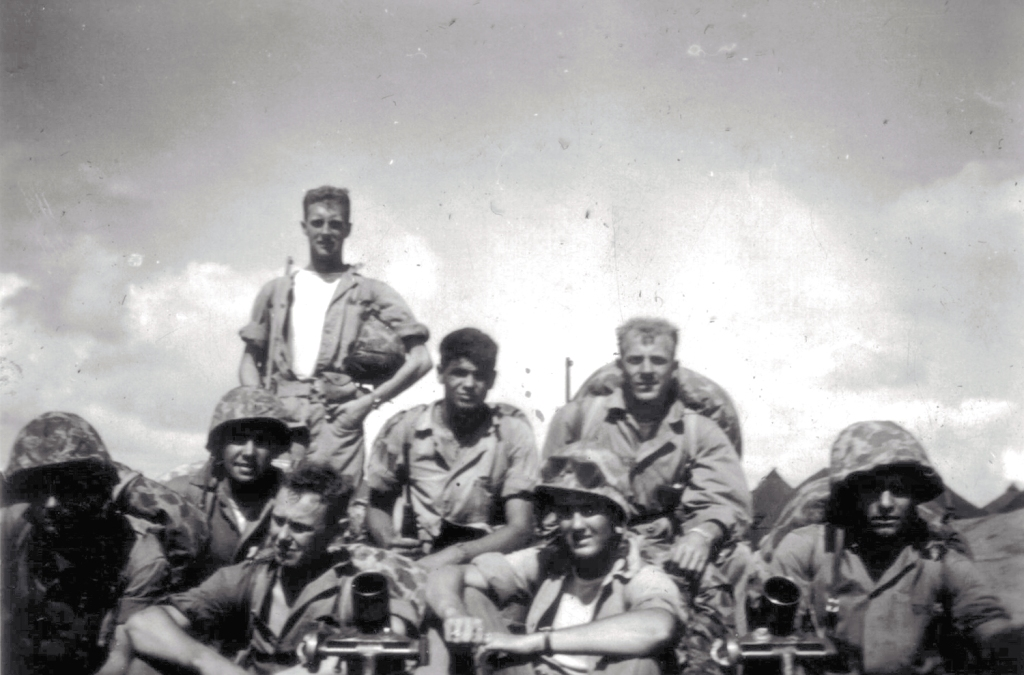 Phil Wood (standing) with some of his mortarmen, 1944.