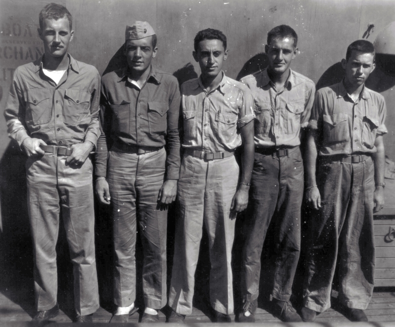 Officers of Company A after Roi-Namur. Phil Wood, Roy Wood, Irving Schechter, Endecott Osgood, David Smith.