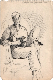 A sketch of Phil, done by Gretchen during a family vacation to Atlantic City in 1941. Phil was reading to his mother and sister to pass the time on a rainy day.