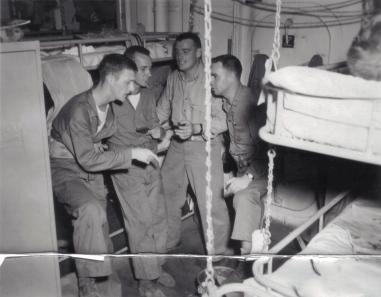 "The ""Agony Quartette"" aboard the USS DuPage - Eagle, Ted, Big Harry and Fireball."