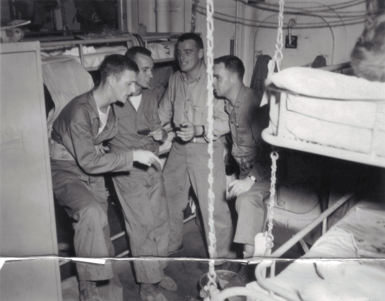 "The ""Agony Quartette"" aboard the USS DuPage - Eagle, Ted, Big Harry and Fireball."