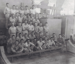 Battalion officers aboard the SS Robin Wentley, returning from the battle of Namur.