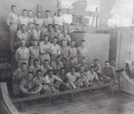 Battalion officers aboard the SS Robin Wentley, en route to Camp Maui.