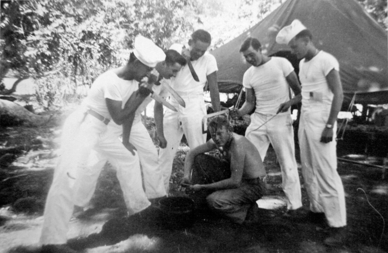 Bill Imm, Donald Hart, Bob Williams, Thomas McCay and JJ Franey versus cook James Coburn. Camp Pendleton, 1943.