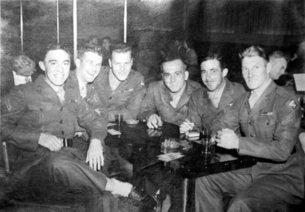 These Marines enjoy their first liberty in Los Angeles after the war. George Smith, Henry Hufnagle, John Nash (of Charlie Company), an unknown staff sergent, Tom Hurley, and Robert Larson.