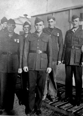 "Part of Able Company's weapons platoon at Camp Lejeune. Howie Haff, George Smith, ""Taxi"" Wanagaitis, David Spohn, Howard Kerr, and JJ Franey."