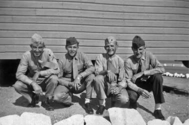 "George Smith, Tom Johnson, JJ Franey and Howie Haff outside their barracks at Camp Pendleton. ""Nobody else had the white rocks."" - George Smith"
