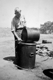"Bob Williams ""walloping pots"" at Camp Pendleton, 1943."