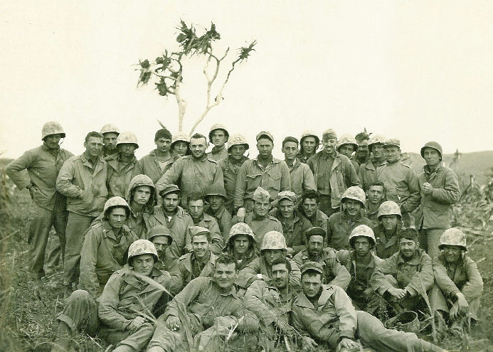 Company A after Iwo Jima. Schechter is in the rear rank, seventh from right.