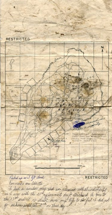 Lloyd Abbott's map of Iwo Jima, showing his approximate locations and notes.