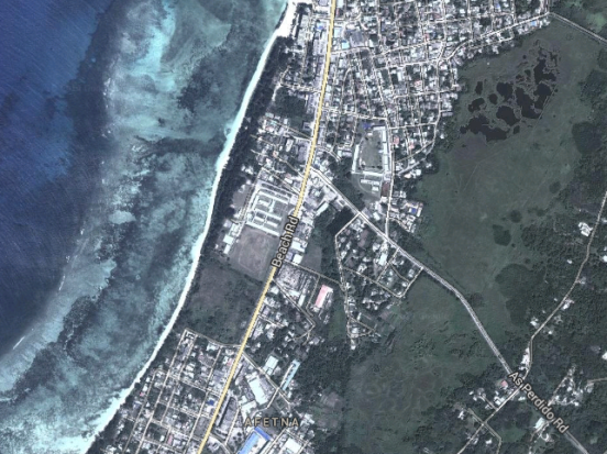 The same area in 2014. Battalion front was at the intersection of Beach and As Perdido Roads. Image from Google Maps.