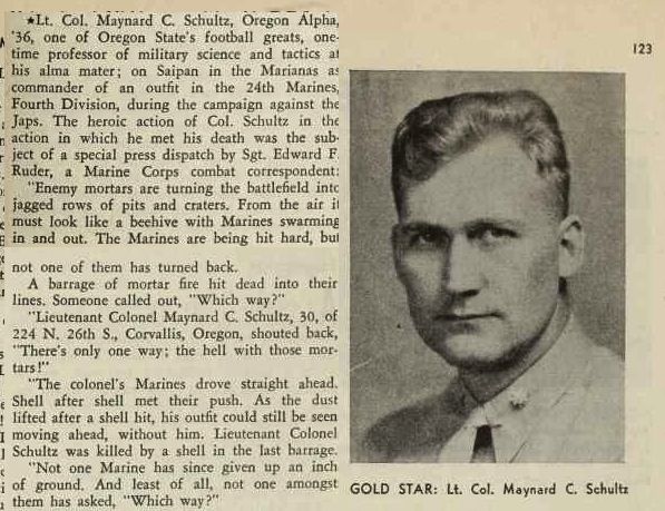 The story of Schultz's death got a dramatic treatment in the Sigma Phi Epsilon journal, November 1944.