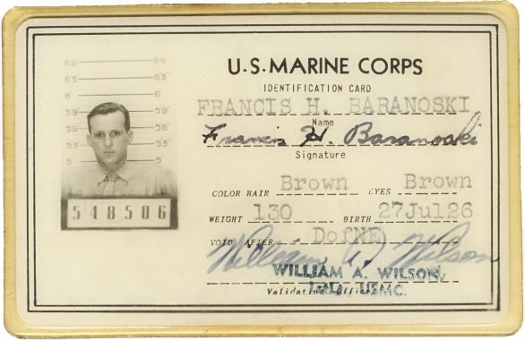 Private Baranoski's ID card. Courtesy of Joseph Baranoski.