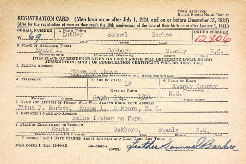 Luther Barbee's draft card.