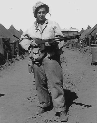 "Bob Tierney with the BAR that earned him the nickname ""900 Rounds."" Photo from ancestry.com"