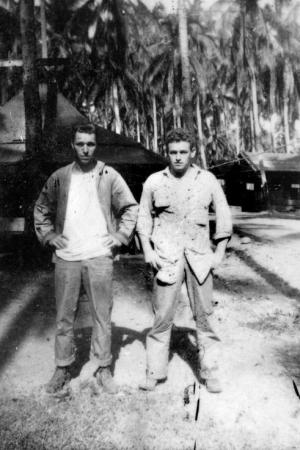 Harlan Jeffery (left) on Guadalcanal while recovering from his Saipan wound.