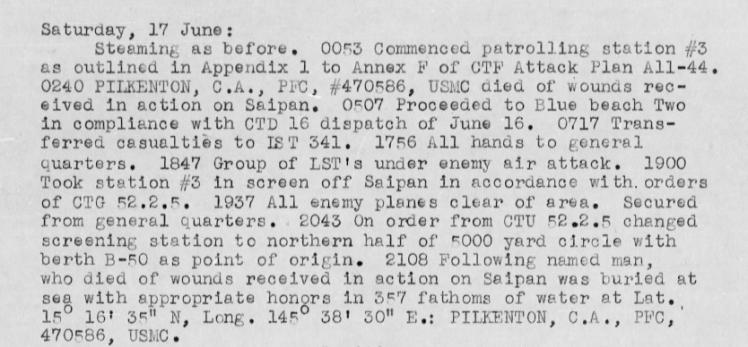 Log of the USS Brooks, 17 June 1944.