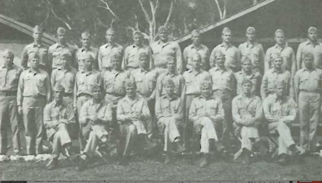 Officers of First Battalion, First Raider Regiment, late 1943. Major Banks, commanding, is seated third from left. Raider Patch, May 1978.