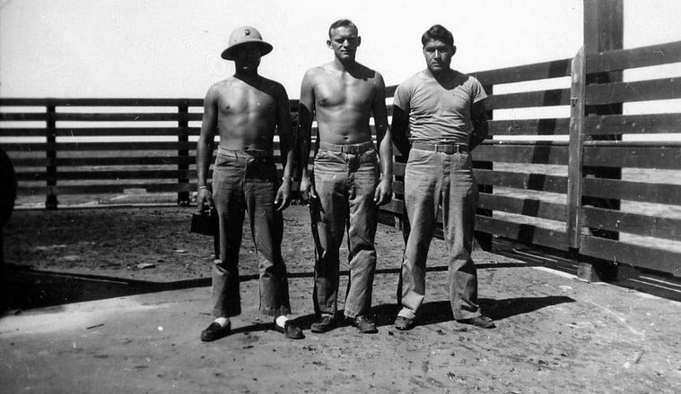 Bautch, center, with two buddies in Hawaii, 1946. Photo from the Lloyd E. Abbott collection, Rutherford B. Hayes Presidential Center, Manuscripts Division.