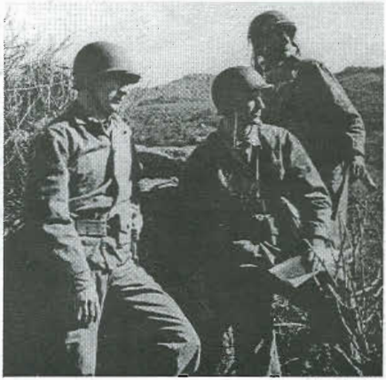 Charles Banks, Jimmy Roosevelt, and Jack Schaffer survey the land at Camp Pendleton, California. Photo from Raider Patch No. 84, 2003.