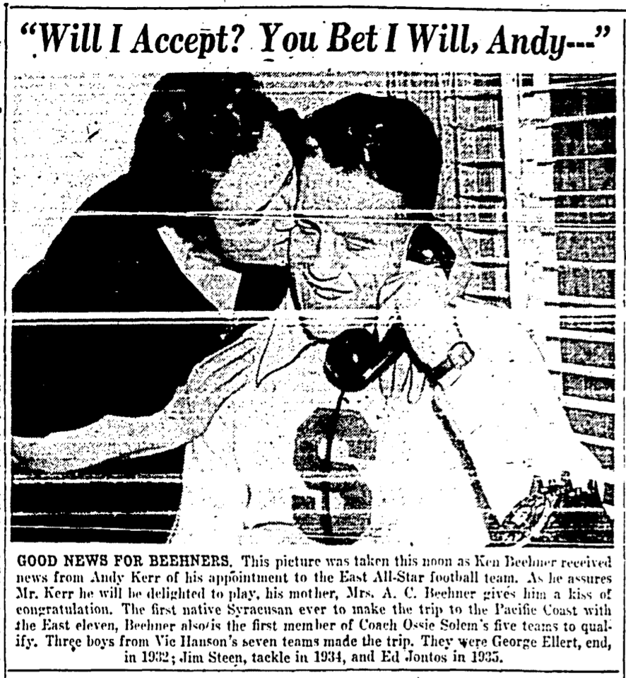 """""""Good News for the Beehners."""" Ken's delight at receiving this news was tempered somewhat four days later by the attack on Pearl Harbor. Syracuse Herald-Journal, December 3, 1941."""