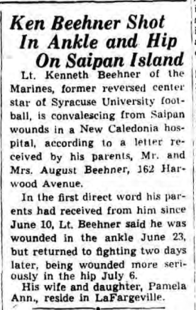 An early report of Beehner's wounding. Syracuse Herald-Journal, July 28 1944.