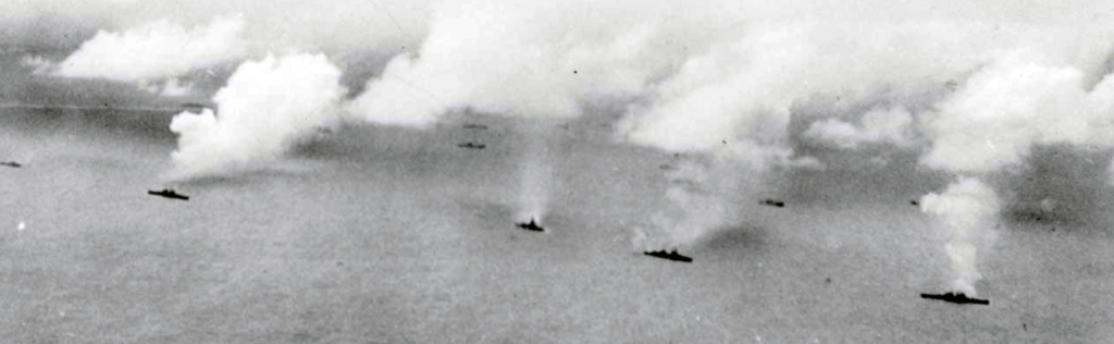 The Navy's contribution: shelling Roi and Namur on 1 February, 1944.
