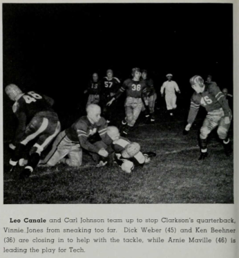 Beehner in action on the gridiron as #36.