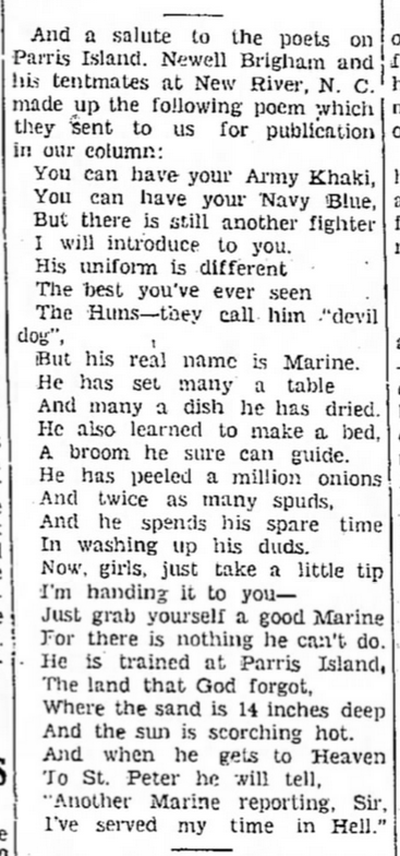 "The Courier News, Blytheville AR, 17 April 1942. The poem is a popular one called ""Ode To A Marine"" –it's doubtful that Brigham actually composed the poem himself."