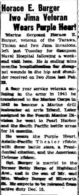 The Hamburg Sun, 15 November 1945. Despite the claims in this article, Burger did not serve at Tarawa or Tinian.