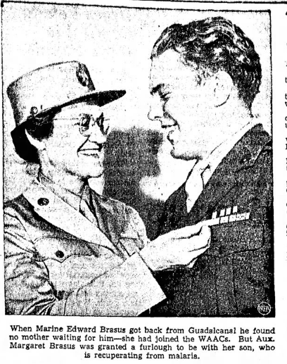 PFC Brasus meets his WAAC mother upon returning from Guadalcanal. The picture and story were repeated in papers across the country.