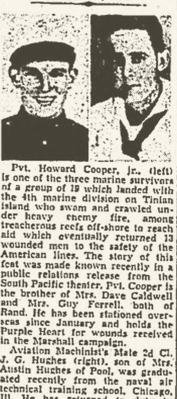 A good Marine: the Charleston Gazette of December 15, 1944, reports on Howard's exploits overseas.