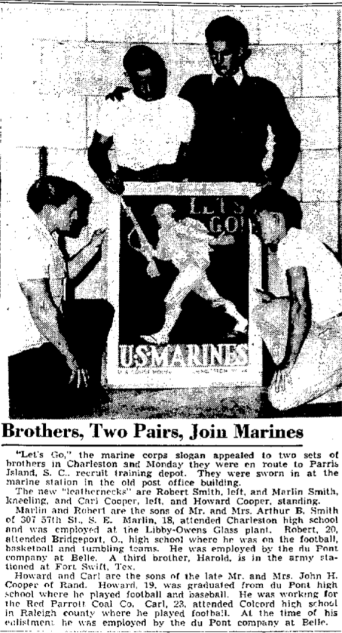 The only photo this researcher has seen of the Cooper brothers together. Charleston Daily Mail, August 25, 1942.