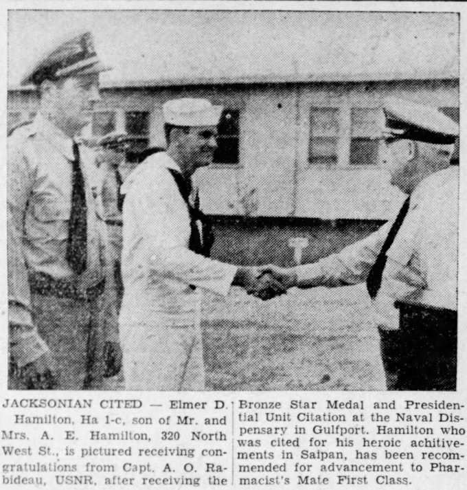 """Doc"" Jackson receives his Bronze Star medal. This item appeared in the Jackson, Mississippi Clarion-Ledger on 3 August 1945."