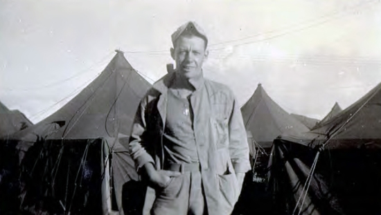 PFC Cabrelli, back on duty at Camp Maui after being wounded on Iwo Jima. Photo courtesy of Joseph Baranoski.
