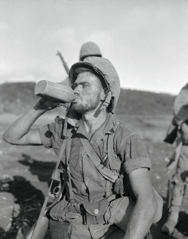 Soldier Drinking From His Canteen