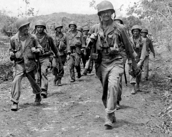 """""""Soldiers moving up to front line."""" July 7, 1944. US Army Photo; Rosecrans."""